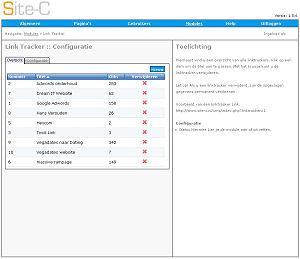 een voorbeeld van de Link Tracker module