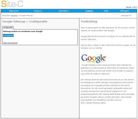 Een schermvoorbeeld van de Google Sitemap Module
