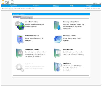Het dashboard van de Newsletter Premium module