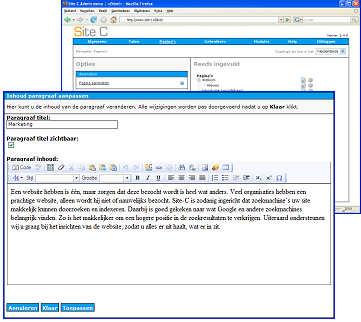 Een screenshot van de tekst editor, Klik op de foto voor een detailscherm